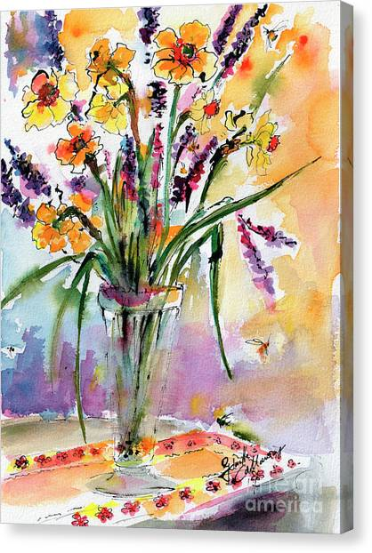 Daffodils And Lavender Spring Still Life Canvas Print