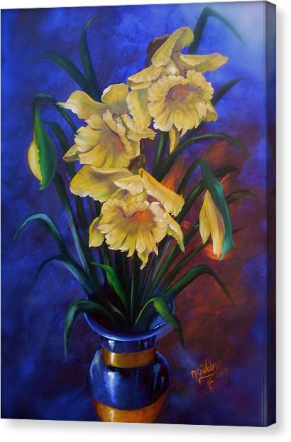 Daffodils In Cobalt Vase Canvas Print by Micheal Giddens