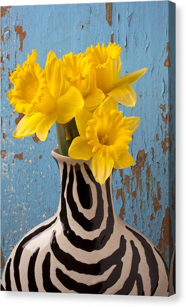 Daffodils Canvas Print - Daffodils In Wide Striped Vase by Garry Gay