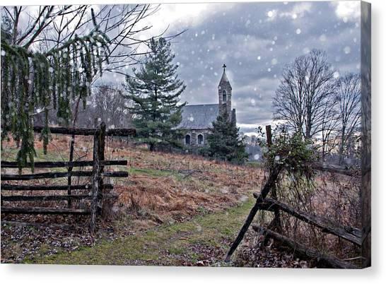Dahlgren Chapel Winter Scene Canvas Print