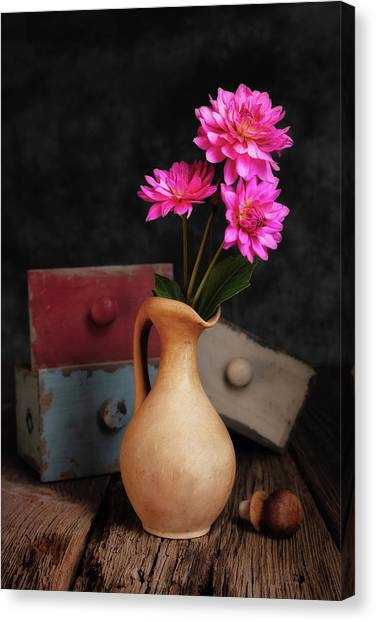 Drawers Canvas Print - Dahlias And Drawers by Tom Mc Nemar