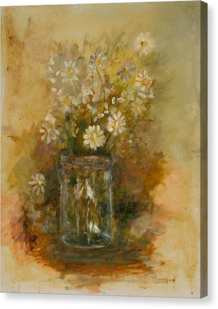 Daisies In A Jar Canvas Print by Betty Stevens