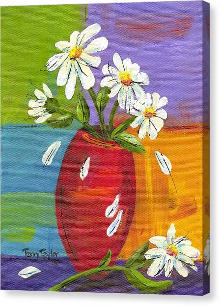 Daisies In A Red Vase Canvas Print