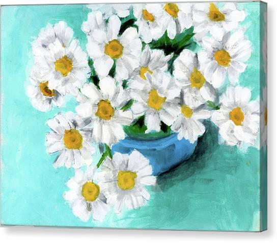 Daisies In Blue Bowl Canvas Print
