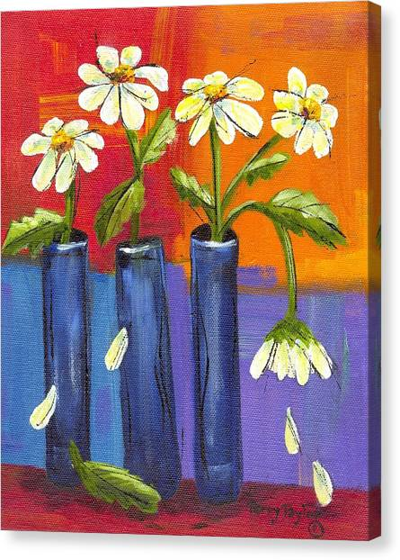 Daisies In Blue Vases Canvas Print