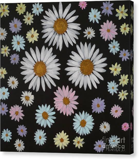 Daisies On Black Canvas Print