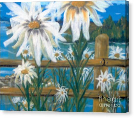 Canvas Print featuring the painting Daisy Dance by Saundra Johnson