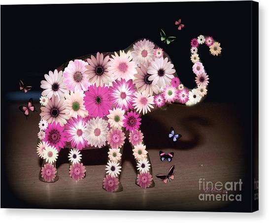 Daisy Elephant Canvas Print