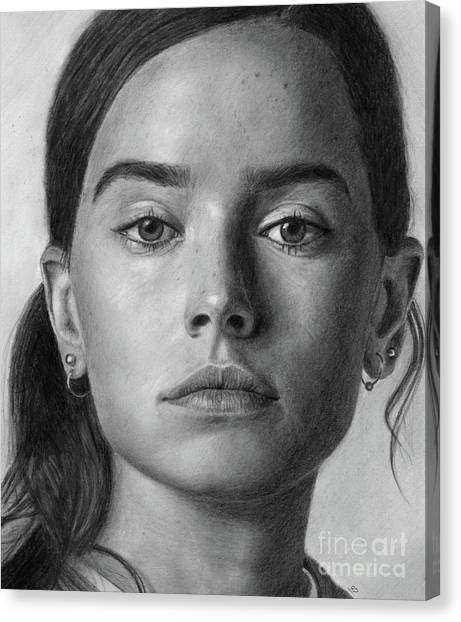 Daisy Ridley Pencil Drawing Portrait Canvas Print