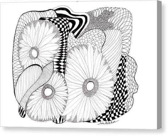 Daisy Zentangle Canvas Print