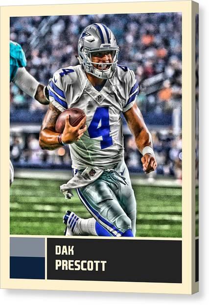 Dallas Cowboys Canvas Print - Dak Prescott Dallas Cowboys by Joe Hamilton