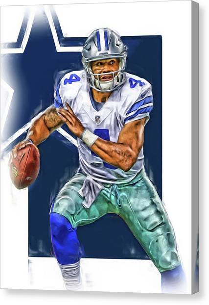 Dallas Cowboys Canvas Print - Dak Prescott Dallas Cowboys Oil Art by Joe Hamilton