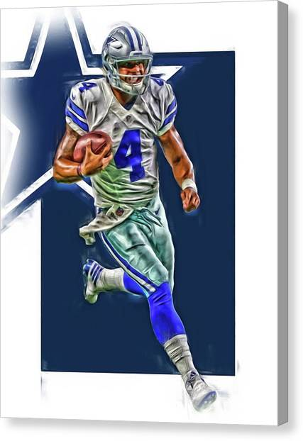Dallas Cowboys Canvas Print - Dak Prescott Dallas Cowboys Oil Art Series 3 by Joe Hamilton