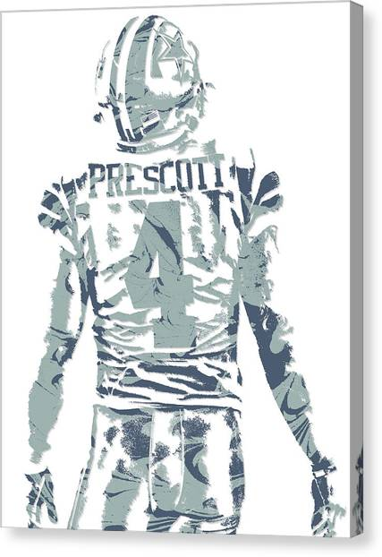 Dallas Cowboys Canvas Print - Dak Prescott Dallas Cowboys Pixel Art 12 by Joe Hamilton