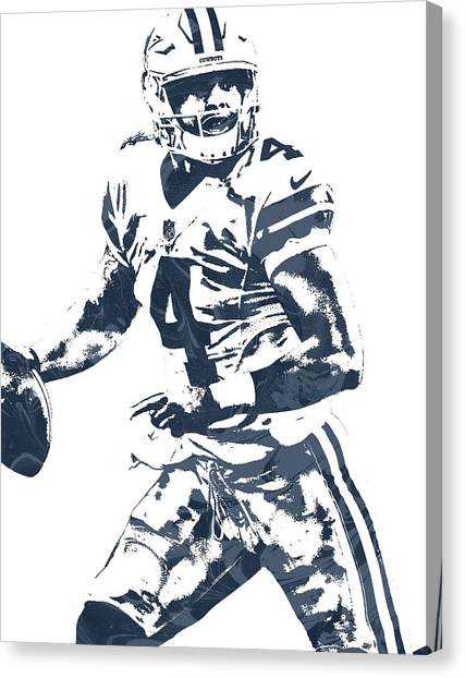 Dallas Cowboys Canvas Print - Dak Prescott Dallas Cowboys Pixel Art 3 by Joe Hamilton