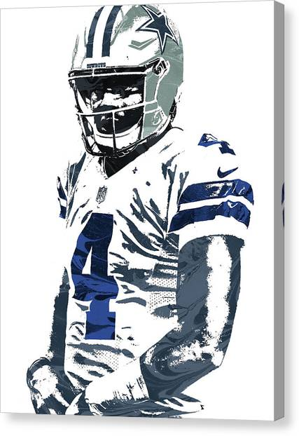 Dallas Cowboys Canvas Print - Dak Prescott Dallas Cowboys Pixel Art 4 by Joe Hamilton