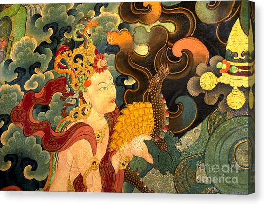 Dakini With Nagas - Sera Monastery Tibet Canvas Print