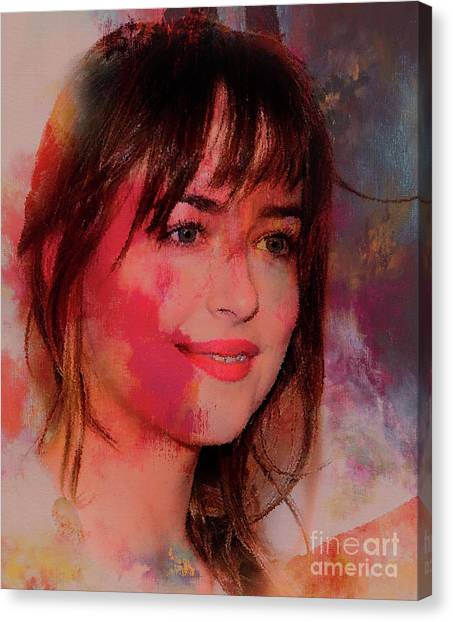 Dwayne Johnson Canvas Print - Dakota Johnson 309 by Gull G
