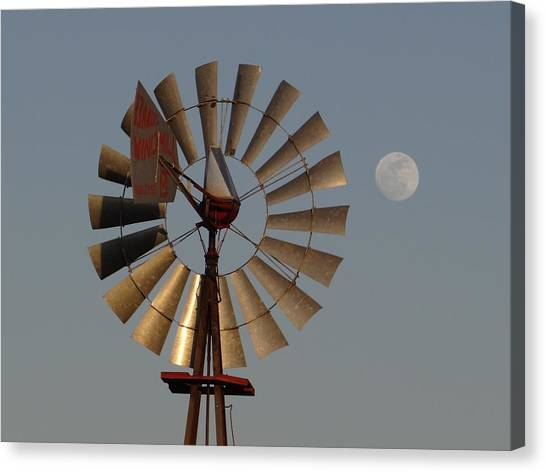Dakota Windmill And Moon Canvas Print