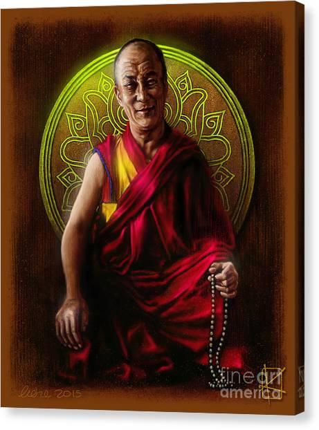 Lama Canvas Print - Dalai Lama by Andre Koekemoer