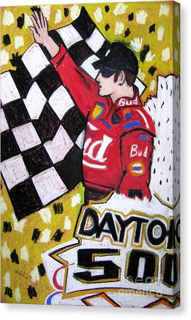 Daytona 500 Canvas Print - Dale Earnhardt Jr. by Lesley Giles