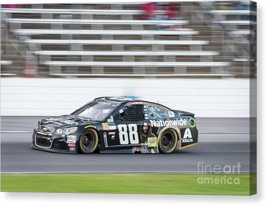 Dale Earnhardt Jr Canvas Print - Dale Earnhardt Jr Running Hard At Texas Motor Speedway by Paul Quinn