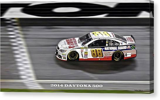 Daytona 500 Canvas Print - Dale Earnhardt Jr. Wins The 2014 Daytona 500 by Thomas Pollart