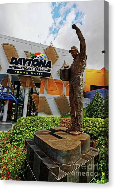 Daytona 500 Canvas Print - Dale Earnhardt Statue by Paul Mashburn