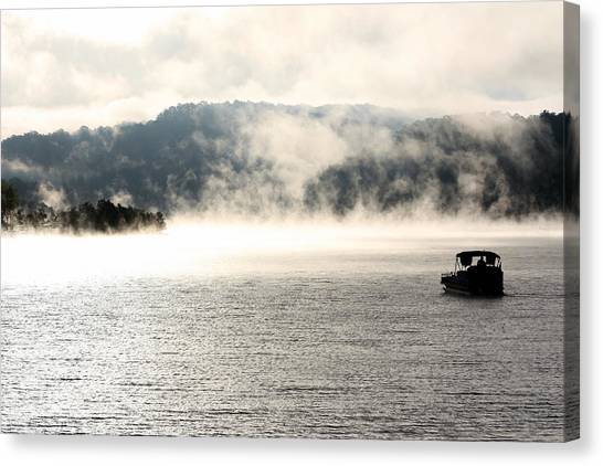 Pontoon Canvas Print - Dale Hollow Morning Fishing by Susie Weaver