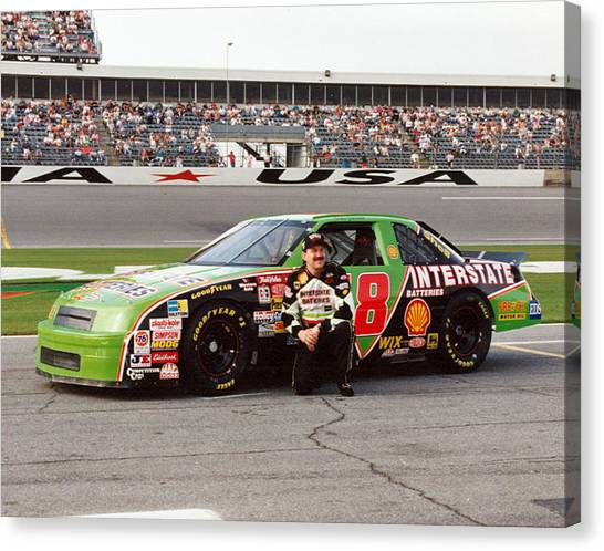 Joe Gibbs Canvas Print - Dale Jarrett # 18 Interstate Batteries Chevrolet 1992 Daytona by David Bryant