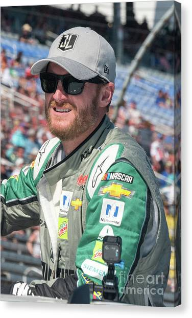 Dale Earnhardt Jr Canvas Print - Dale Jr Ready For His Last Nascar Race At Texas Motor Speedway by Paul Quinn