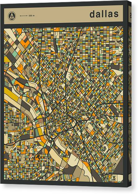 Dallas Canvas Print - Dallas City Map by Jazzberry Blue