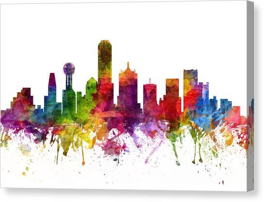 Dallas Skyline Canvas Print - Dallas Cityscape 06 by Aged Pixel