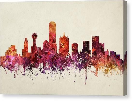 Dallas Skyline Canvas Print - Dallas Cityscape 09 by Aged Pixel