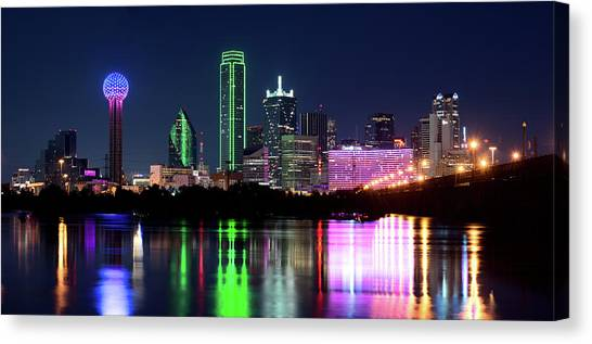 Dallas Colorful Night 52716 Canvas Print