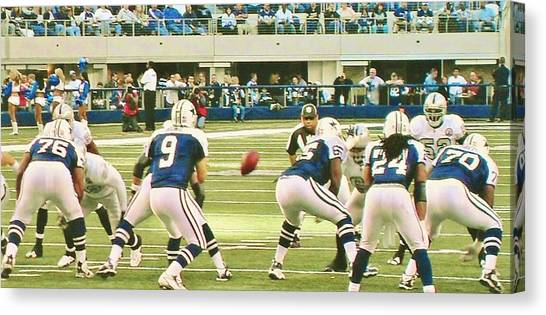 Dallas Cowboys Cheerleaders Canvas Print - Dallas Cowboys And Quarterback #9 Tony Romo by Donna Wilson