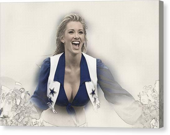 Dallas Cowboys Cheerleader Katy Marie Performs Canvas Print