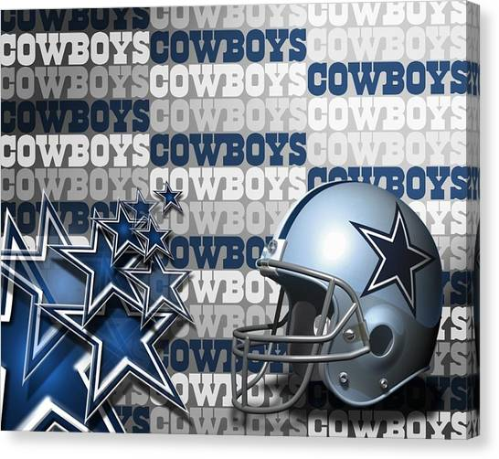 Dallas Cowboys Cheerleaders Canvas Print - The Dallas Cowboys Football Team Helmet And Stars by Donna Wilson