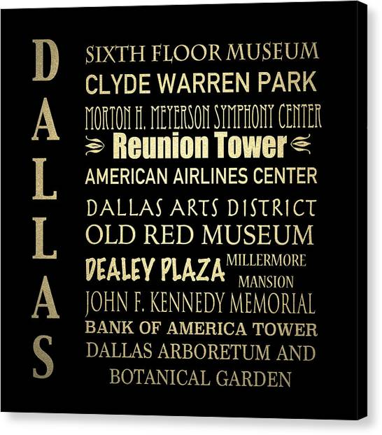 Famous Places Canvas Print - Dallas Famous Landmarks by Patricia Lintner