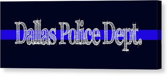 Dallas Police Dept. Blue Line Mug Canvas Print