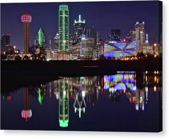 Dallas Mavericks Canvas Print - Dallas Reflecting At Night by Frozen in Time Fine Art Photography