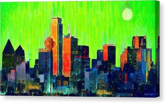 Metropolitan Canvas Print - Dallas Skyline 73 - Da by Leonardo Digenio