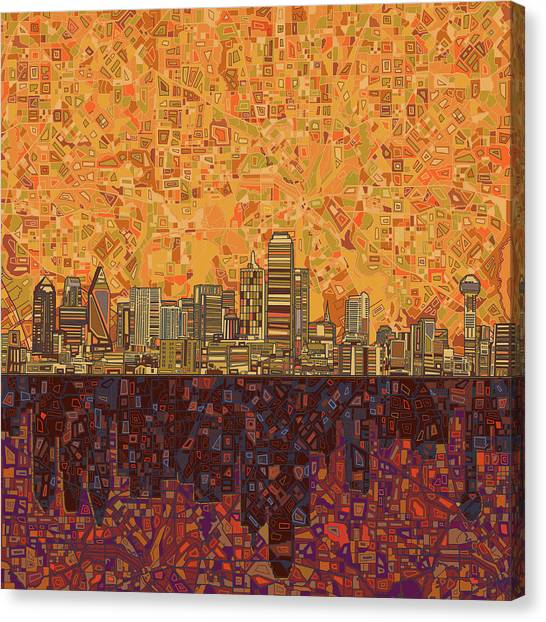 Dallas Skyline Canvas Print - Dallas Skyline Abstract by Bekim Art