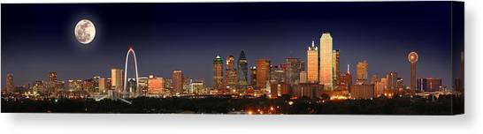 Dallas Skyline Canvas Print - Dallas Skyline At Dusk Big Moon Night  by Jon Holiday