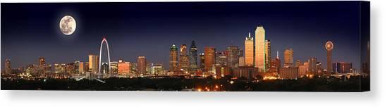 Dallas Skyline At Dusk Big Moon Night  Canvas Print