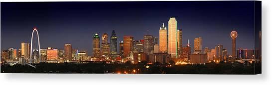 Dallas Canvas Print - Dallas Skyline At Dusk  by Jon Holiday
