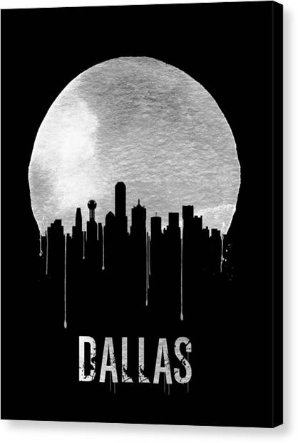 Dallas Skyline Canvas Print - Dallas Skyline Black by Naxart Studio