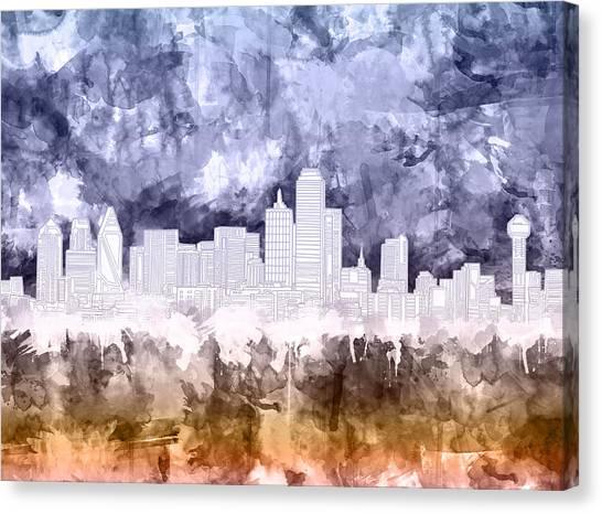 Dallas Skyline Canvas Print - Dallas Skyline Brush Strokes 3 by Bekim Art
