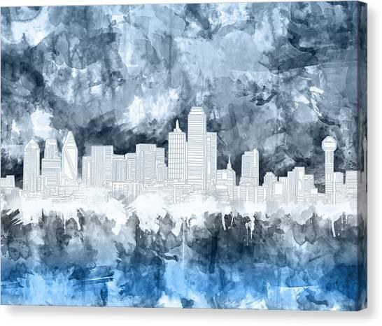 Dallas Skyline Canvas Print - Dallas Skyline Brush Strokes Blue 2 by Bekim Art