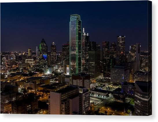 Dallas Skyline Evening Glow Canvas Print